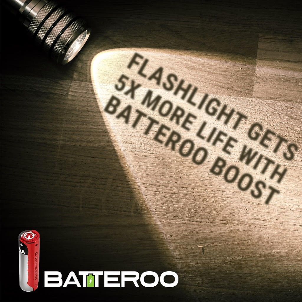 Batteroo Test with Flashlights (5.5x battery life extension)